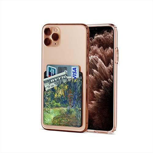 Funda para tarjetas de crédito, ultradelgada, Claude Monet Impresionism The Water-Lily Estanque en Giverny Stick On Wallet Iphone & Android Smartphone Card Case titular tarjeta de visita, tarjetero