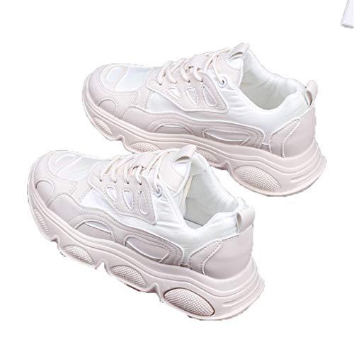 DogensHonz Zapatos de Moda Malla Femenina Transpirable y cómodas Solas de Zapatos recreativas Gruesas Amarillo Rosa Blanco, Color Crema, 2020 Beige 39