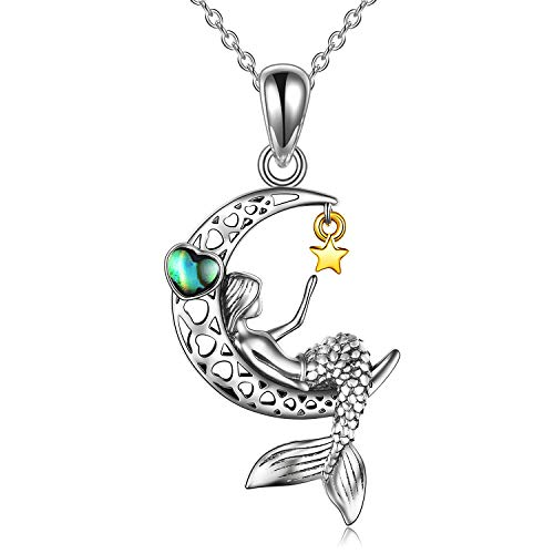VENACOLY Mermaid Necklace Sterling Silver Moon Star Pendant Little Mermaid Jewellery Valentines Gifts For Women