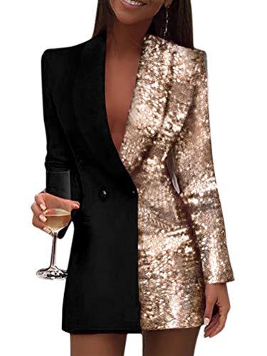 Minetom Damen Blazer Kleid Frauen Elegant Langarm V-Ausschnitt Hemdkleid Business Lange Knopf Anzug Spleißen Glitzer Minikleider Gold 38