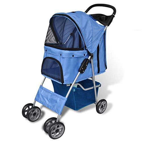 Retrome Pet Stroller Dog Cat Travel Carrier Folding Blue Cat Kitten Puppy Supply