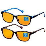 Blue Light Blocking Computer Glasses 2 Pack Anti Eyestrain Unisex(Men/Women) Eyeglasses with Spring Hinges UV Protection Little yellow lens FDA Approved Twilight and Bule