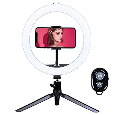 FAPO 10.2'' Selfie Ring Light with Tripod Stand & Cell Phone Holder, Mini Led Camera Ring Light for Live Stream/Youtute/TikTok/Photography, 3 Light Modes& 10-Level Brightness from FAPO