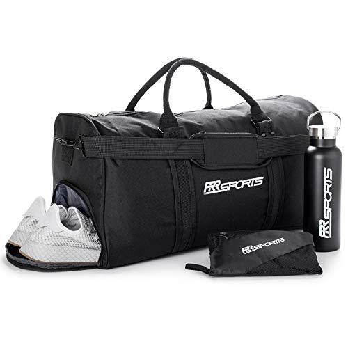 RR Sports - Sportset aus Sporttasche mit Schuhfach, Edelstahl Trinkflasche und Microfaser Sporthandtuch schwarz, Fitnessset für Damen, Herren & Kinder, Unisex Sport Set für Fitness, Fitnessstudio, Gym