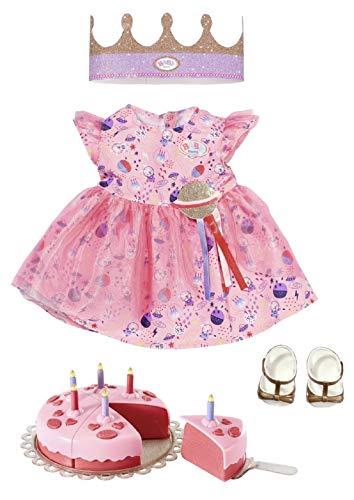 Zapf Creation 830789 BABY born Deluxe Happy Birthday Set 43 cm -Geburtstags-Set mit Kleid und Schuhen, inklusive Krone und Torte