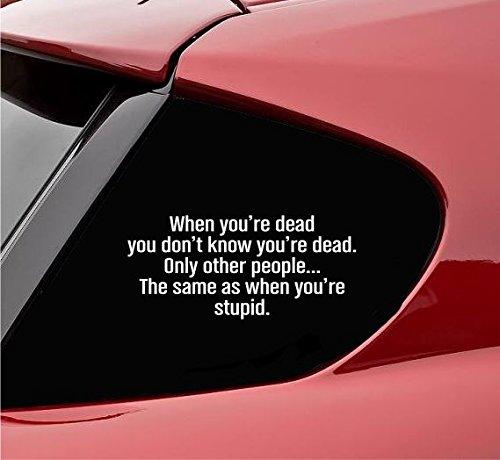 Slap-Art Adhesivo de vinilo divertido con texto en inglés 'When You're Dead Only Other People The Same As When You're Stupid'