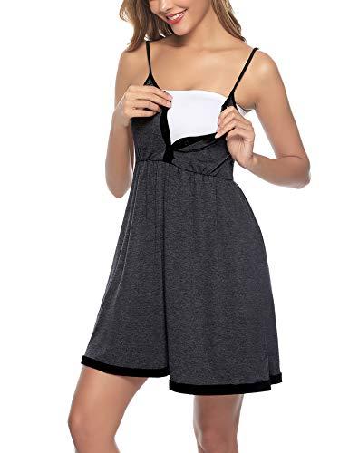 Sykooria Sukienka ciążowa z bawełny, moda ciążowa, koszula nocna do karmienia piersią, damska sukienka do karmienia piersią, z listwą guzikową, idealna dla kobiet w ciąży i karmienia piersią