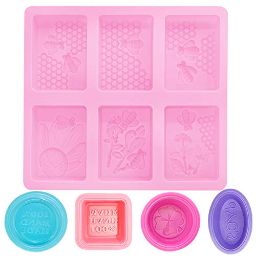 SENHAI 6-Cavity Rectangle Bee Mold & 4 Pcs Silicone Pan Soap Molds, Making Cupcakes Muffins Soap - Pink, Purple, Rose Red, Blue