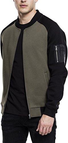 Urban Classics heren sweatshirt 2-Tone Raglan sweatjack bomber, tweekleurig sweatjack met contrasterende mouwen in de stijl van een bomberjack