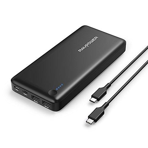 RAVPower type-c 26800mAh パソコン 充電 バッテリー 超大容量 (PD対応/USB-C/type-cケーブル 付) MacBook Switch 等対応 RP-PB058 (黒)