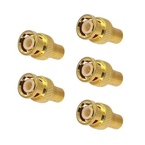 VCE (5-Pack) Gold-Plated RCA Female Plug to BNC Male Jack Adapters Coaxial Connector for CCTV Security Camera Adapter