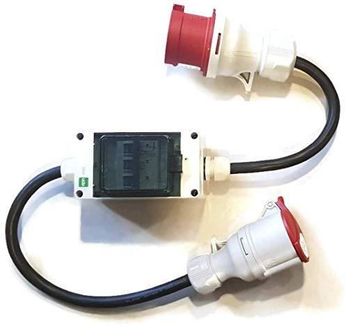 Naka24 231201/S Stecker und Steckdose 5x2,5mm mit 3 Sicherungen je 32A auf 16A CEE Starkstrom Adapter, 6400 W, 1000x80x100