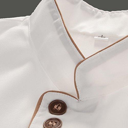 F Fityle Weiß Langarm Kochjacke Bäckerjacke mit Knöpfe Gastronomie Arbeitskleidung Koch Küchen Uniformen Kochkleidung – Weiß, XXL - 4