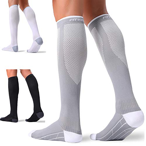 3 Pairs Compression Socks for Women and Men 20-30mmHg-- Circulation and Muscle Support Socks for Travel, Running, Nurse, Medical Black+White+Grey L/XL