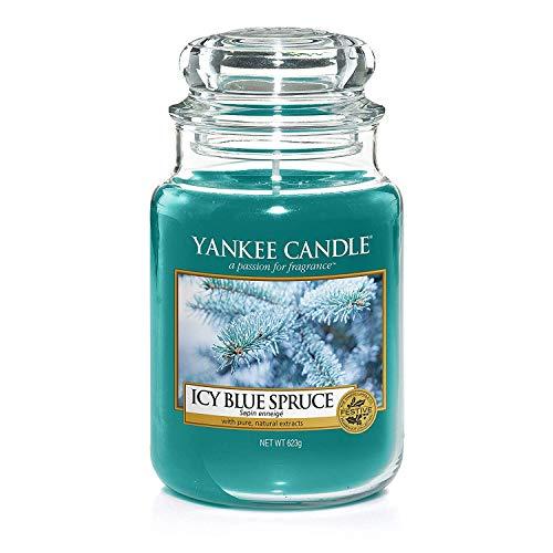 Yankee Candle Duftkerze im großen Jar, Icy Blue Spruce, Brenndauer bis zu 150Stunden