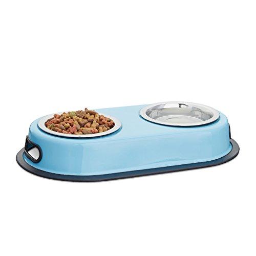Relaxdays Doppelnapf Edelstahl, Futterstation für Katzen & kleine Hunde, Fressnapfständer, HxBxT: 5,5 x 33 x 18 cm, blau