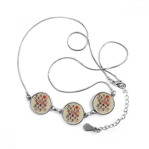 Juego utensilios juego de cartas fichas patrón forma redonda colgante collar joyas con cadena decoración regalo