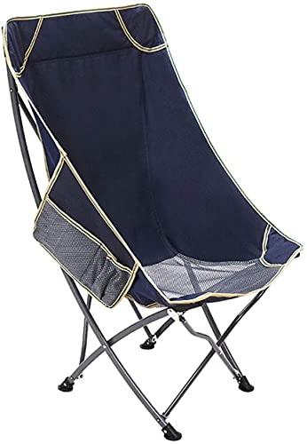Silla plegable portátil para exteriores, respaldo de pesca, taburete de ocio, playa, salón, almuerzo, 53 x 53 x 93 cm, color verde, portátil (color: azul)