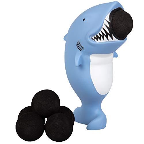 Hog Wild Shark Popper Toy - Shoot Foam Balls Up to 20 Feet - 6 Balls Included - Age 4+