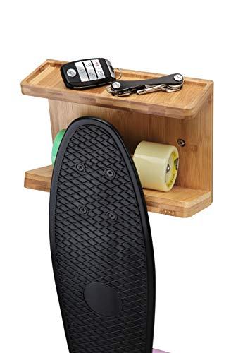 JackCubeDesign Bambus Skateboard Wandhalterung Lager Longboard Skate Aussteller Organizer Halter mit Ablagefläche (22,9 x 9,9 x 17,5 cm) - :MK393A