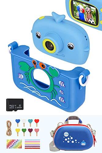 Luclay Cámara Digital para Niños, con Funda De Cámara, Funda De Silicona, Clip De Fotos y Tarjeta De 32GB, 20 MP HD 1080P Recargable y a Prueba De Golpes RegaloPpara Niños (Azul 2)