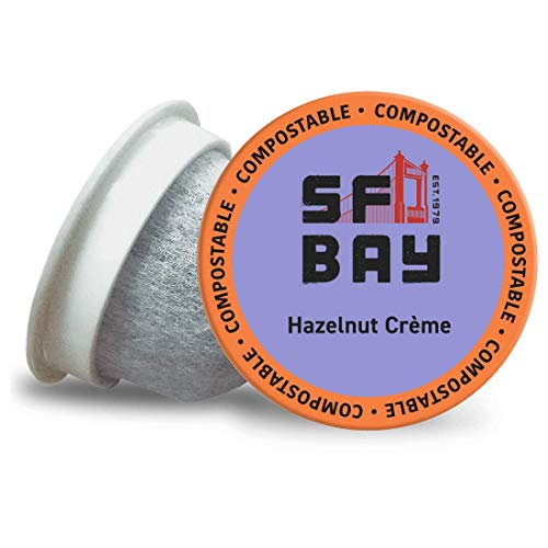 SF Bay Coffee Hazelnut Crème 36 Ct Flavored Medium Roast Compostable Coffee Pods, K Cup Compatible including Keurig 2.0 (Packaging May Vary)