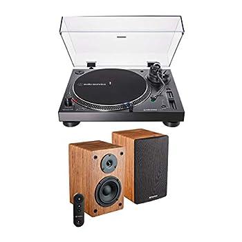 Audio Technica AT-LP120XBT-USB-BK Bluetooth Wireless Turntable with Knox Gear Powered Bookshelf Bluetooth Speakers Bundle  2 Items