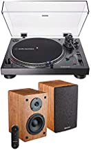 Audio Technica AT-LP120XBT-USB-BK Bluetooth Wireless Turntable with Knox Gear Powered Bookshelf Bluetooth Speakers Bundle (2 Items)