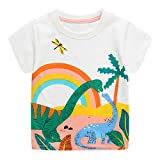 JinBei Camiseta Bebé Niño T-Shirts Manga Corta Algodon Camisetas Negra Verano Casual Dibujos Chico Sudadera Estampado Arcoíris de Dinosaurio Blanco 2-3 Años