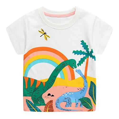 JinBei Camiseta Bebé Niño Manga Corta Algodon Camisetas Negra Elegante Verano Casual Dibujos Chico Sudadera Estampado Arcoíris de Dinosaurio Blanco 1 2 3 4 5 6 7 Años