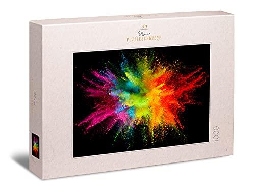 """Ulmer Puzzleschmiede - Puzzle """"Knallbunt"""" - Farbenfrohes, modernes 1000 Teile Puzzle – Puzzlemotiv Einer bunten Farb-Pulver-Explosion auf Kontrast-Hintergrund - innovatives Motiv für Puzzle-Entdecker"""