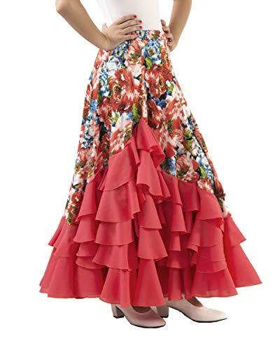 Anuka Falda de Mujer para Practicar Danza Flamenco o sevillanas (Salmón Coral, S)