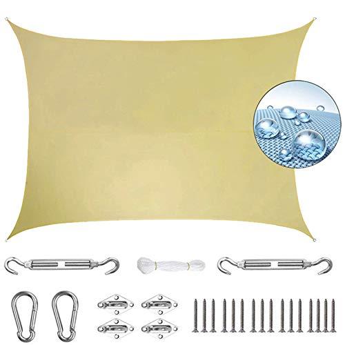 Aibingbao Toldo Vela de Sombra 5x5m Durable, Toldos IKEA Impermeable, para Jardín Patio Terraza Balcón, Beige