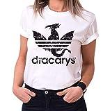 Dracarys Dragon - Camiseta para Mujer de Cuello Redondo Targaryen Thrones Game of Stark Lannister Baratheon Daenerys Khaleesi TV BLU-Ray DVD, Größe2:Small, Farbe2:Blanco