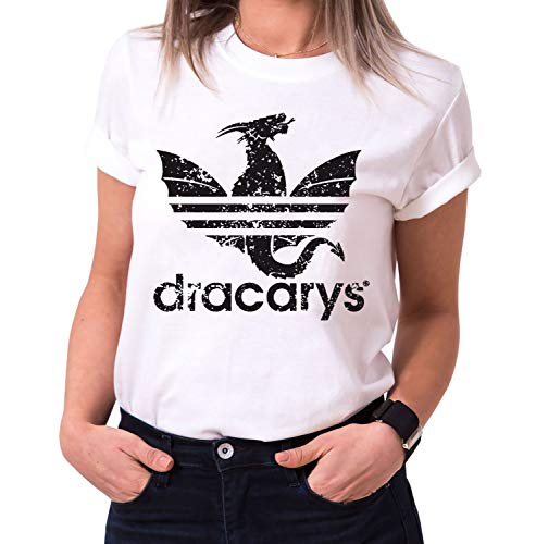 Tee Kiki Dracarys Dragon - Maglietta da Donna Girocollo Targaryen Thrones Game of Stark Lannister Baratheon Daenerys Khaleesi TV Blu-Ray Dvd, Größe2:Medium, Farbe2:Bianco