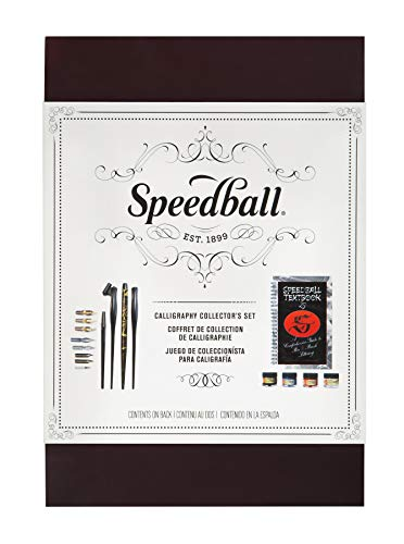 Speedball 003063 Collector's Set- Calligraphy Kit - With Practice Pad, 4 Pen Holders, 8 Pen Nibs, 3 Inks, Pen Cleaner, and Elegant Writer Marker