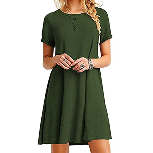 Tree-de-Life Sommer European American Fashion Frauen Casual Dress Elegante Damen Kurzarm O-Ausschnitt Gerade Einfarbig Kleid Grün 2XL