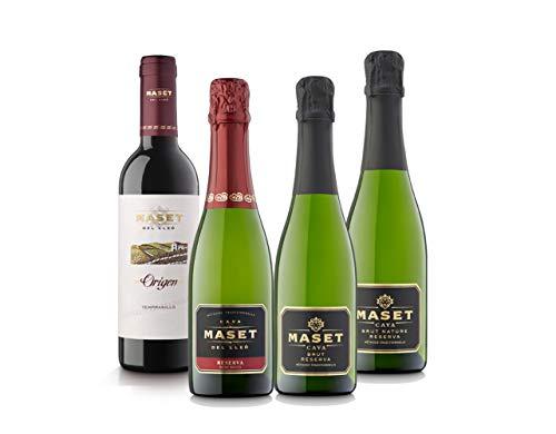 [Amazon限定ブランド]珍しいハーフボトルセット! シャンパン製法スパークリング3本&しっかりスペイン赤ワイン1本セット(スパークリング375mlx3本、赤375mlx1本) [スペイン/Amazon.co.jp限定/Curator's Choice]