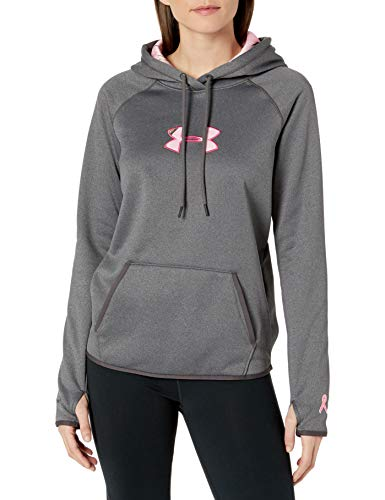Under Armour Women's Icon Caliber Hoodie, Carbon Heather/Realtree Ap Pink, Small