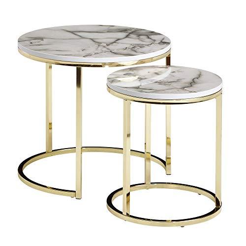 FineBuy Tavolini da Soggiorno Aspetto del Marmo Tavoli per Salotto Bianca e Oro | Set di Tavolino Basso Rotondo Moderno | Tavolinetti da caffè Piccolo