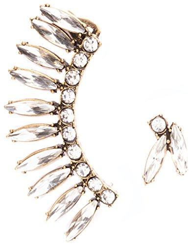 Happiness Boutique Damas Pendientes Ear Crawlers Asimétricos | Pendientes Llamativos Ear Cuffs de Cristal Libres de Níquel