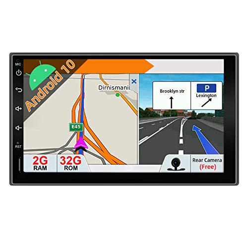JOYX Android 10 Doppel Din Autoradio Mit GPS Navi -2G RAM + 32G ROM - Rückfahrkamera KOSTENLOS - 7 Zoll HD Bildschirm - Unterstützen DAB+ Lenkradsteuerung 4G WiFi Bluetooth Mirrorlink Carplay OBD USB