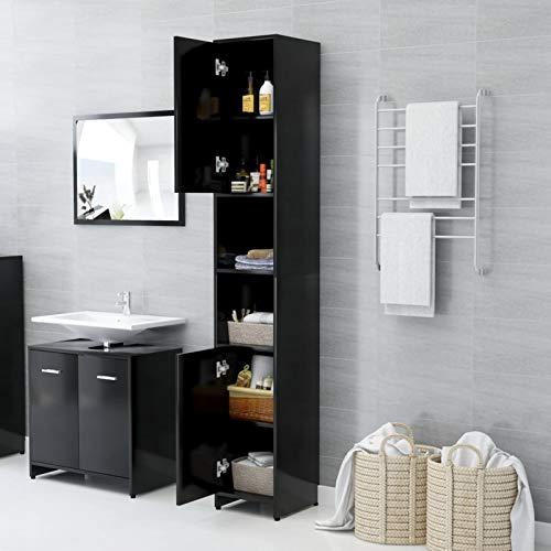 WooDlan Armario Baño Alto Mueble Baño Estrecho Armario Almacenaje de Suelo 6 Compartimentos y 2 Puertas Negro,30x30x183,5