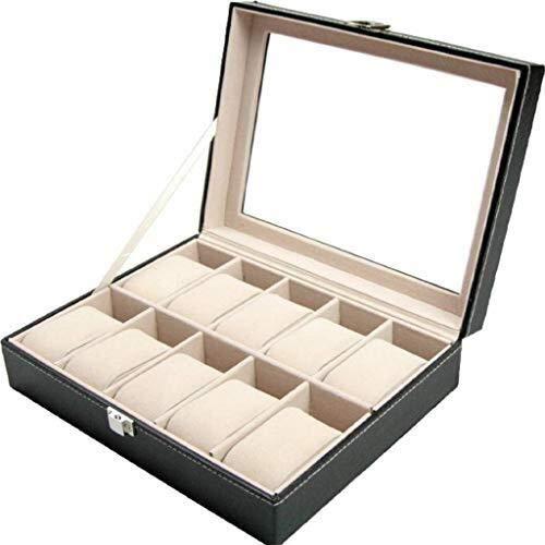 WXDP Caja de reloj automática, caja para mujeres exhibición de vidrio superior casos hombres terciopelo almohadas para titular