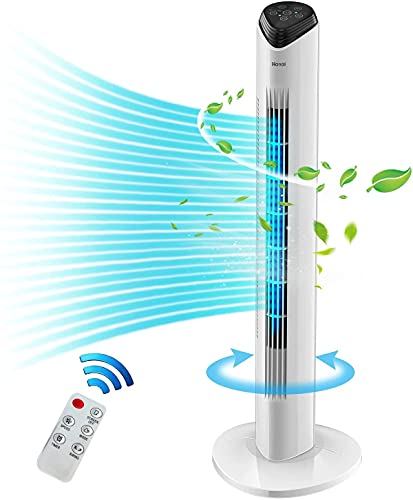 Tower Fan Oscillating Fan with Remote Bladeless Tower Fan LED Display Air Circulator 3 Speed & 3 Wind Mode Suitable for Children Bedroom and Office Use