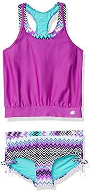 ZeroXposur Girls' Big Good Vibrations 2for Blouson Tankini 2-Piece Swimsuit (Beet, 10)