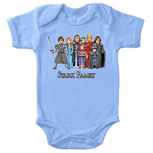 Body bébé Manches Courtes Garçon Bleu Parodie Iron Man - Game of Thrones - Eddard, Catelyn, Robb, Sansa, Arya, Brian et Rickon and Tony Stark (Caricature de Robert Downey Jr) - The Stark Family