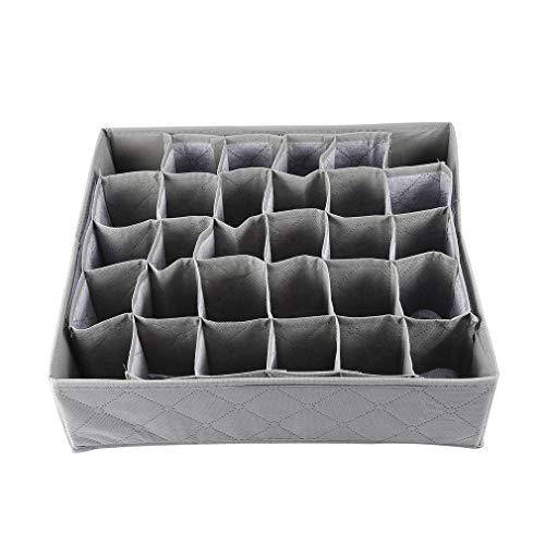 30 Ranuras de Rejilla, bambú, carbón, Corbatas, Calcetines, cajón, Armario, Organizador, Caja de Almacenamiento (Gris)