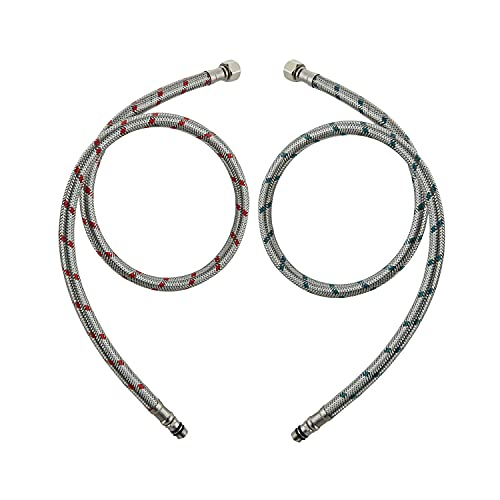 SLSF Faucet Supply Hoses, Braided Stainless Steel Faucet Supply Lines 3/8-Inch Female Compression Thread x M10 Male Connector, 2 Pcs(1 Pair) 24 Inch/60 cm
