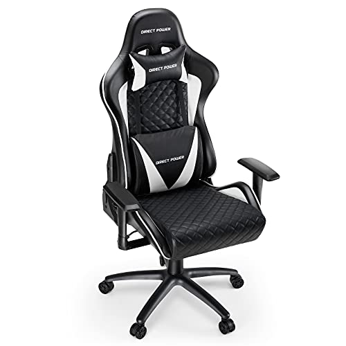 HEAO Gaming Chairs 500lb Ergonomic Computer Chair with Headrest and Lumbar Support E-Sports Swivel Chair, Heavy Duty Racing Chair, Large Size High-Back White/Black